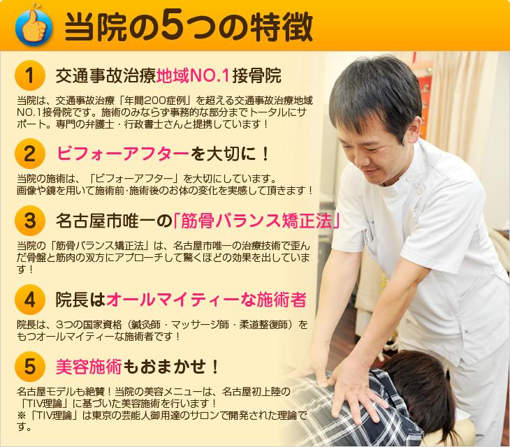 なごみ針灸整骨院 御器所院 5つの特徴